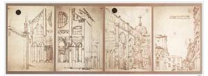 Basílica de los santos Giovanni e Paolo, en Venecia. Bocetos obtenidos mediante una cámara oscura.
